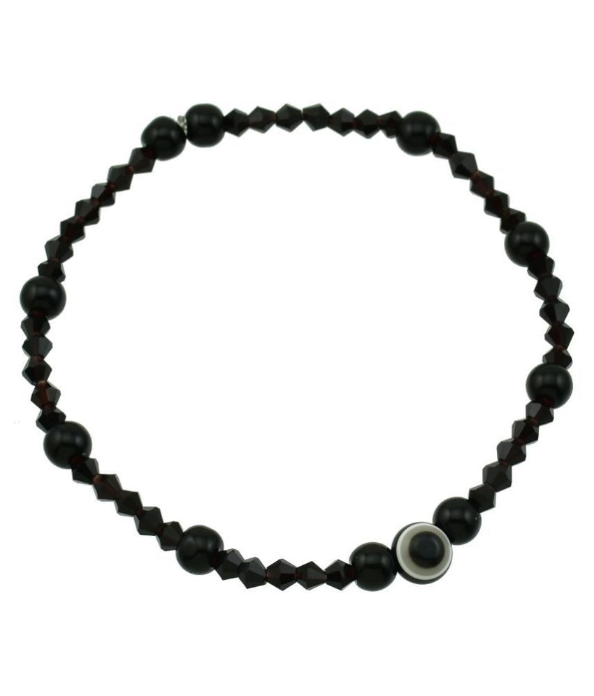 High Trendz Designer Black Beads Small Evil Eye Strechable Anklet