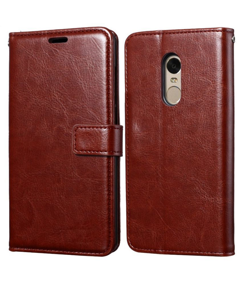 Lenovo K6 Note Flip Cover by Mobilive - Brown Premium Leather,Inner TPU