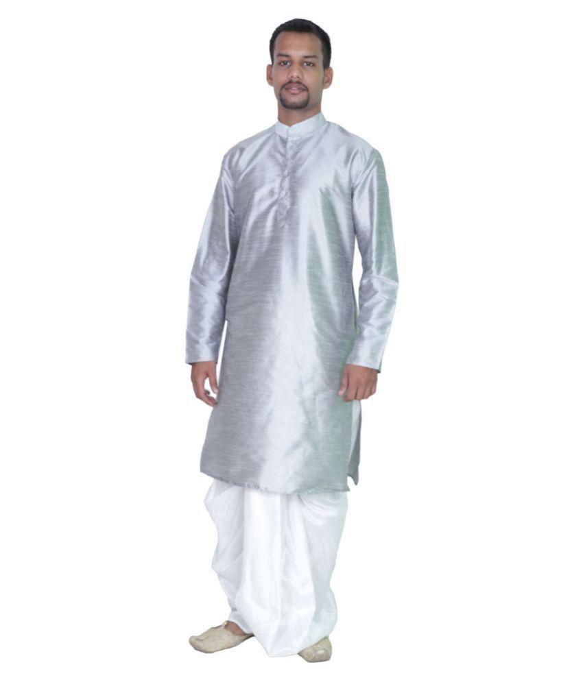 AMG Blue Silk Kurta Pyjama Set Pack of 1