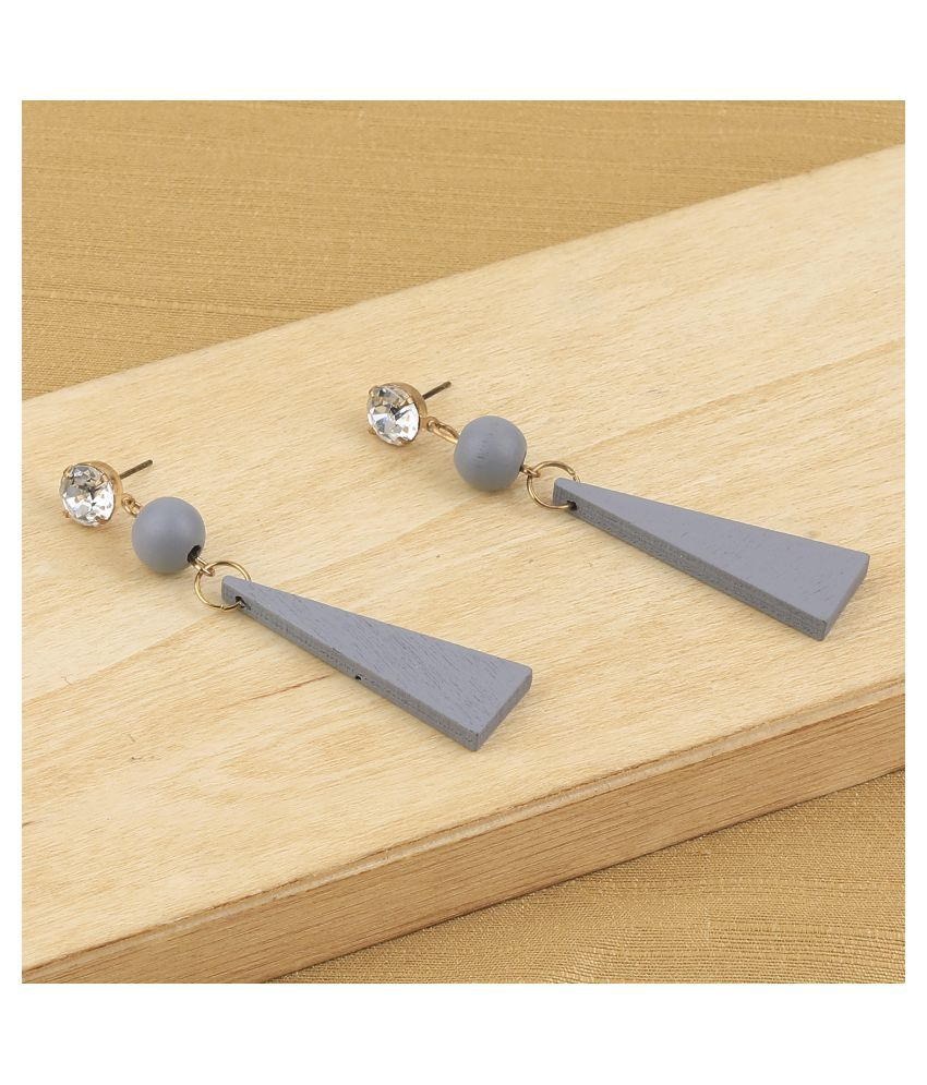 SILVER SHINE Antique Diamond  Wooden Dangler Earrings Perfect and Different Look for women girl.