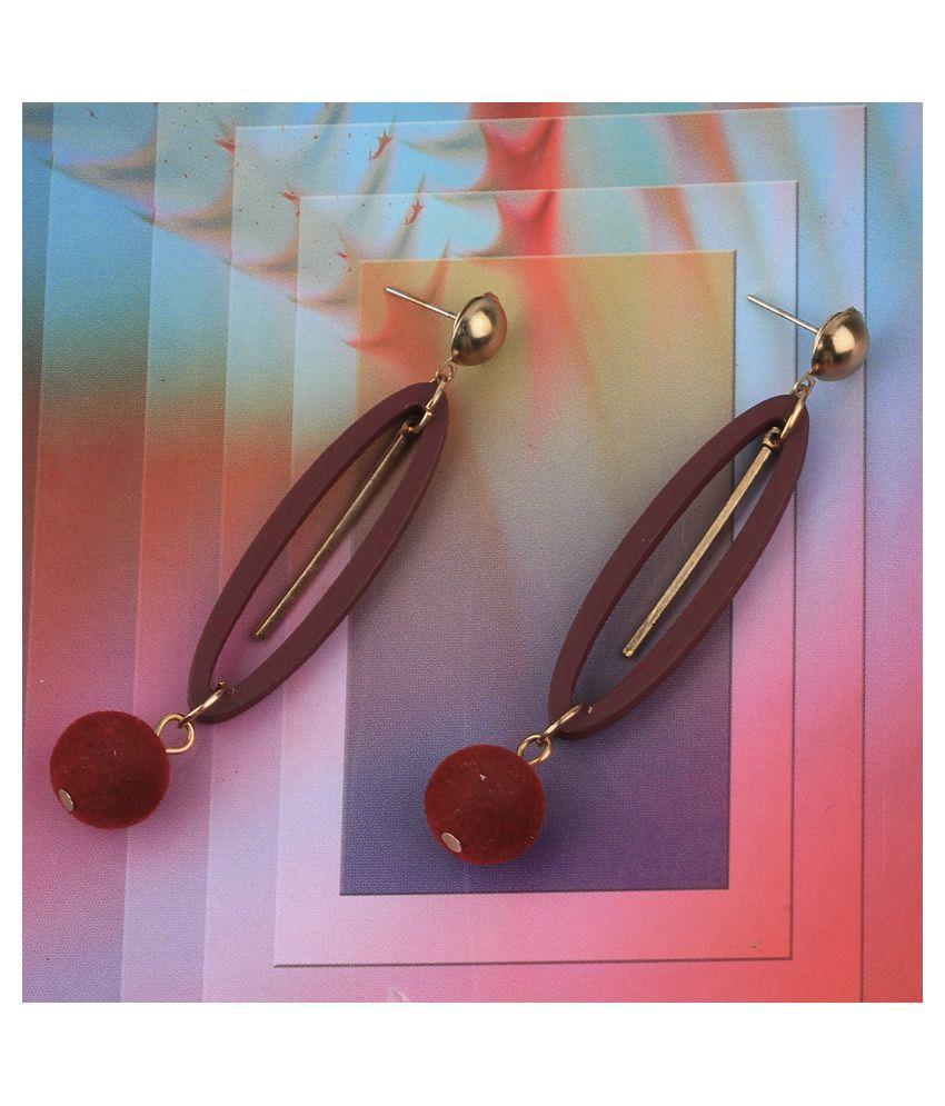 SILVER SHINE Charm Dangler Wooden Earrings For Girls and Women