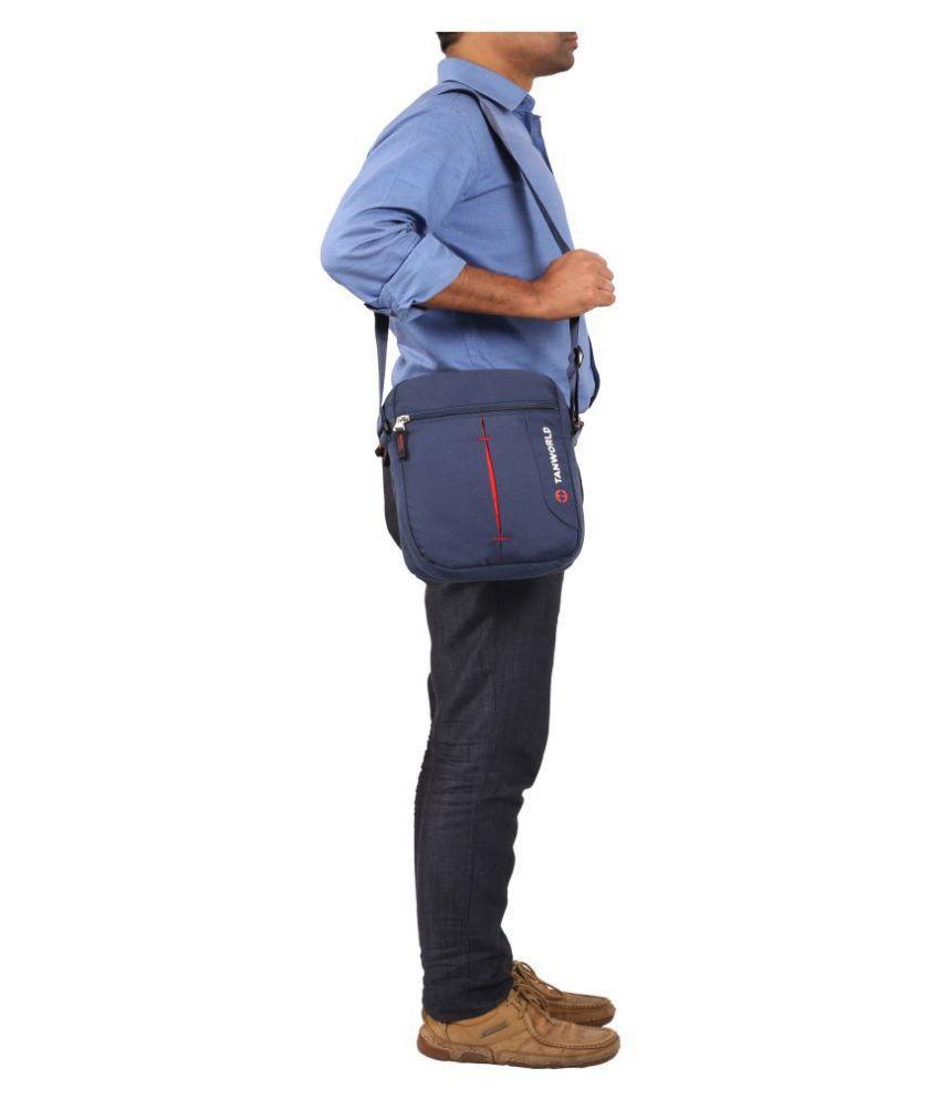 TANWORLD Blue P.U. Casual Messenger Bag