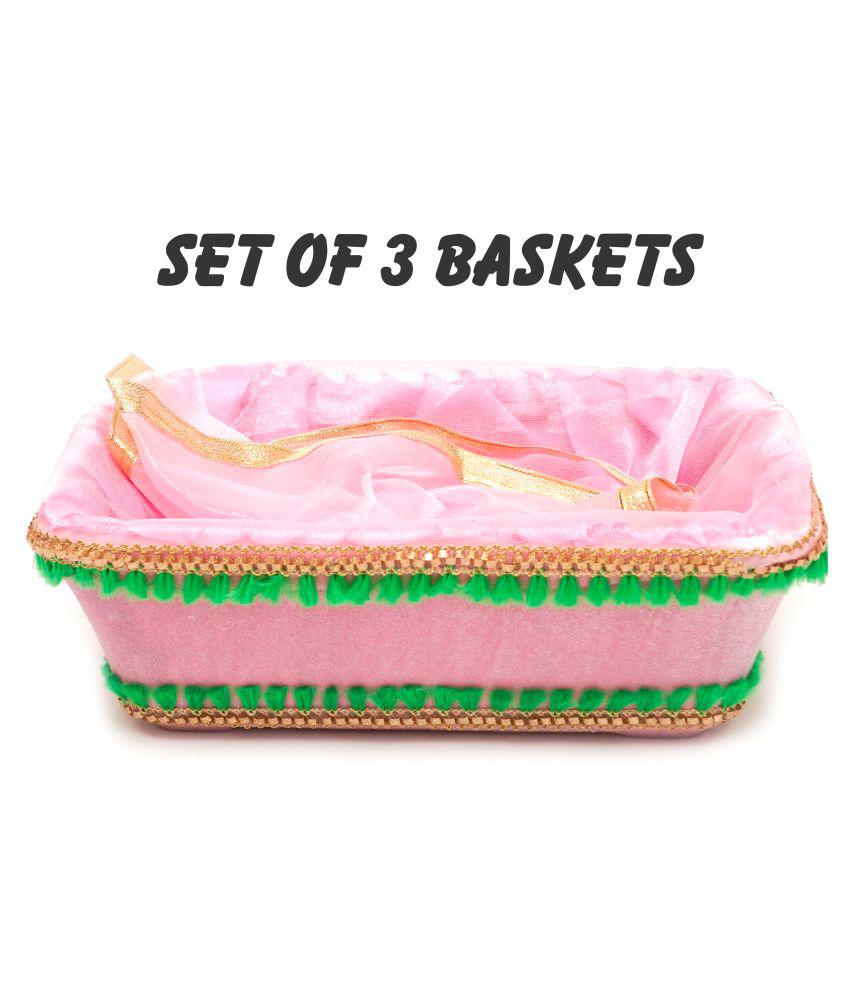 Designer Baby Pink Velvet Net Covering Basket Hotel Room Baskets Favor Gift Baskets Size 11 8 4 Inches Set Of 3 Baskets Buy Designer Baby Pink Velvet Net Covering Basket Hotel