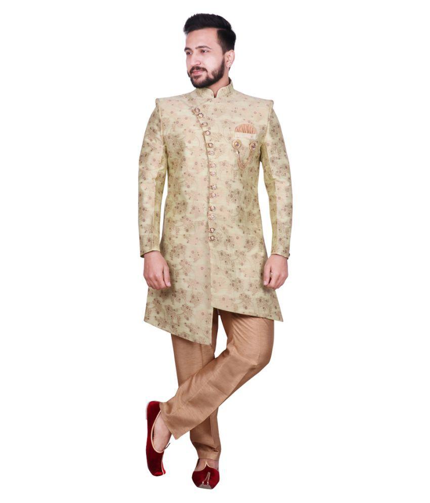 SG RAJASAHAB Green Cotton Sherwani