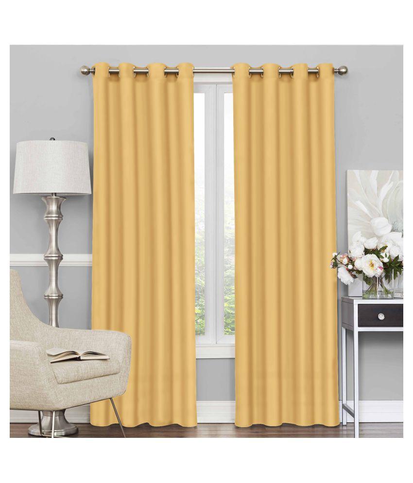Story@Home Set of 2 Door Blackout Room Darkening Eyelet Silk Curtains Yellow