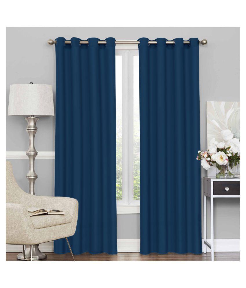 Story@Home Set of 2 Door Blackout Room Darkening Eyelet Silk Curtains Blue