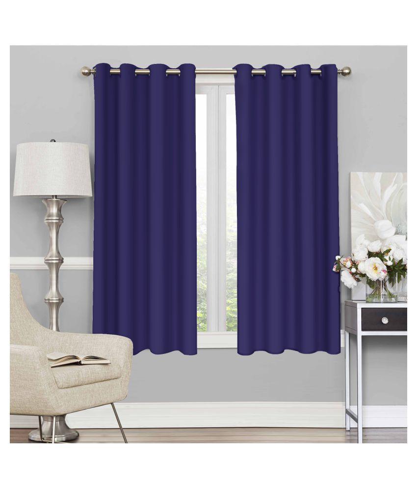 Story@Home Set of 2 Window Blackout Room Darkening Eyelet Silk Curtains Purple