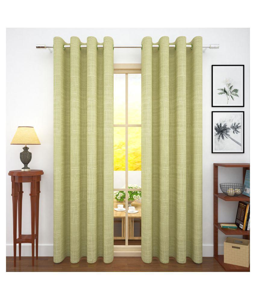 Story@Home Set of 2 Door Blackout Room Darkening Eyelet Jute Curtains Green