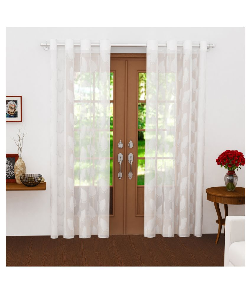 Story@Home Set of 2 Long Door Semi-Transparent Eyelet Polyester Curtains White