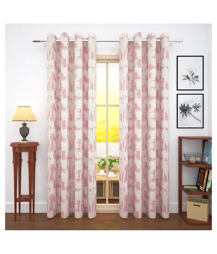 Story@Home Set of 4 Door Blackout Room Darkening Eyelet Jute Curtains Pink