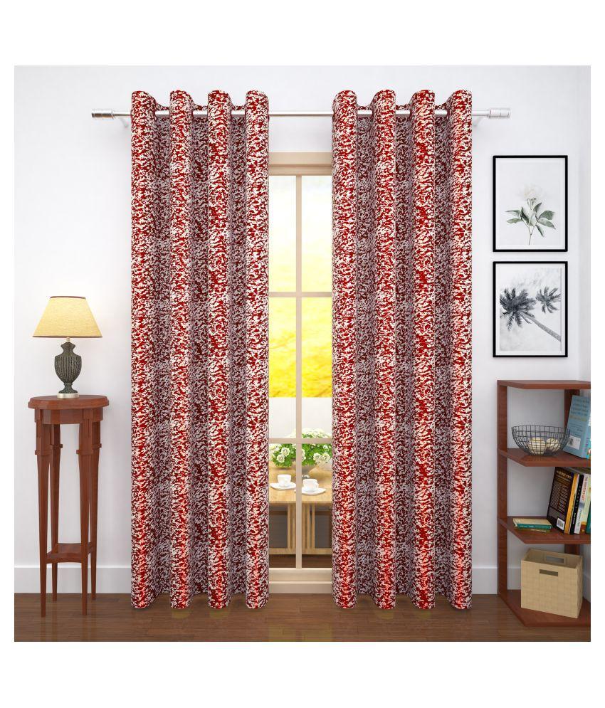 Story@Home Set of 4 Door Blackout Room Darkening Eyelet Jute Curtains Red