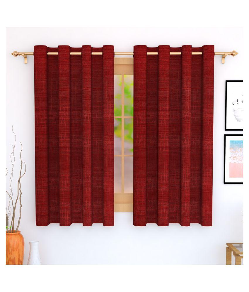 Story@Home Set of 4 Window Blackout Room Darkening Eyelet Jute Curtains Maroon