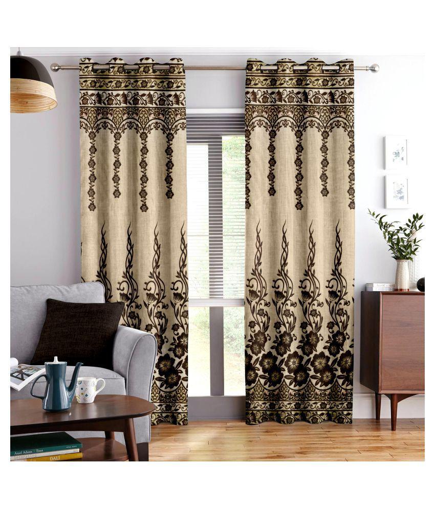 Story@Home Set of 4 Long Door Blackout Room Darkening Eyelet Jute Curtains Brown