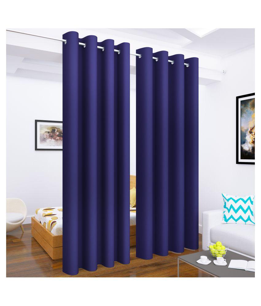 Story@Home Set of 4 Long Door Blackout Room Darkening Eyelet Silk Curtains Purple