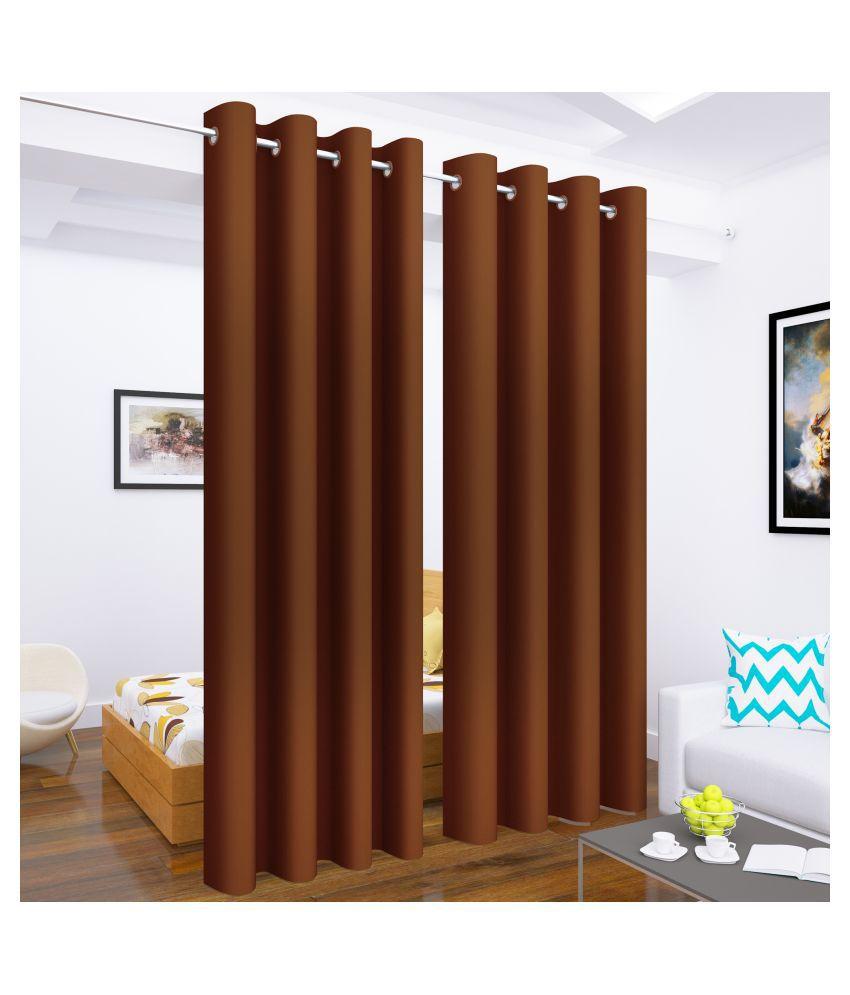Story@Home Set of 4 Long Door Blackout Room Darkening Eyelet Silk Curtains Brown
