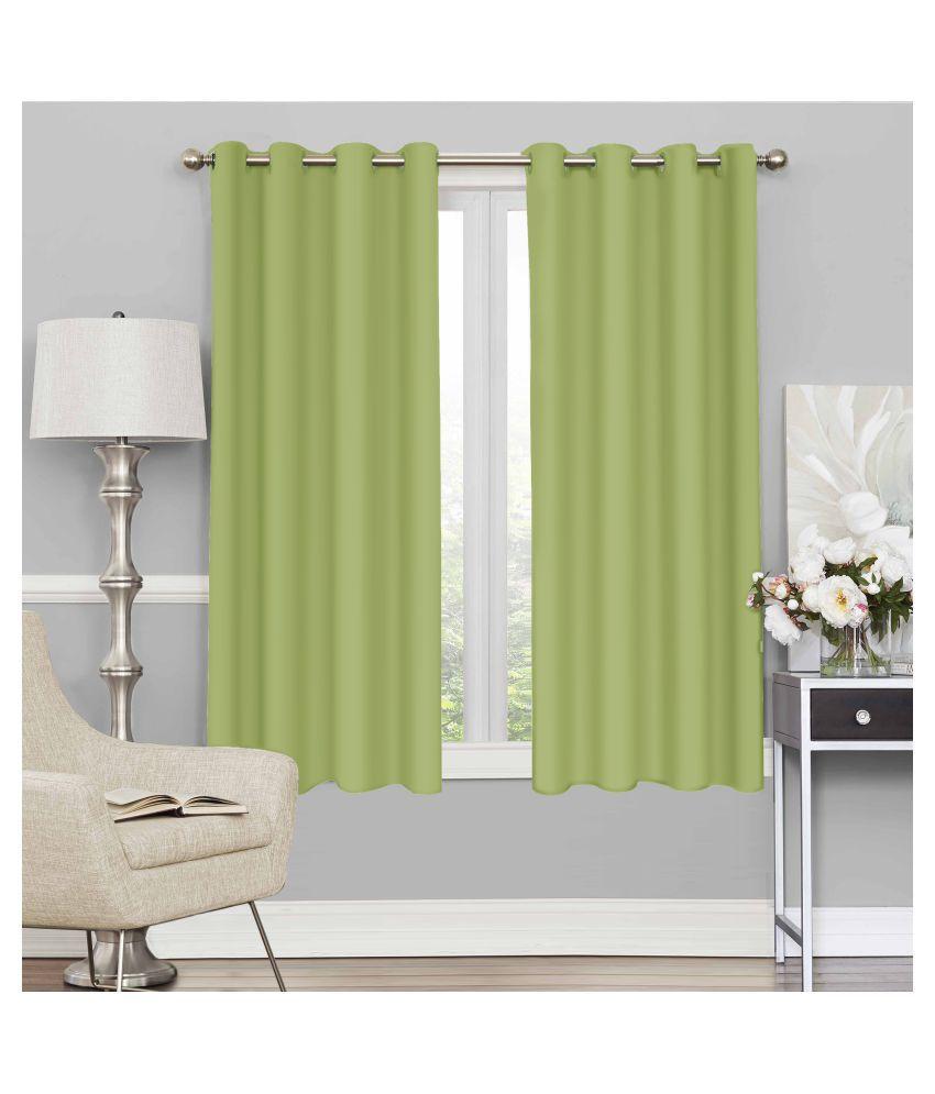 Story@Home Set of 4 Window Blackout Room Darkening Eyelet Silk Curtains Green