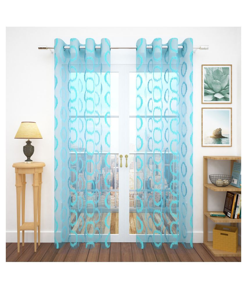 Story@Home Set of 4 Door Semi-Transparent Eyelet Polyester Curtains Blue