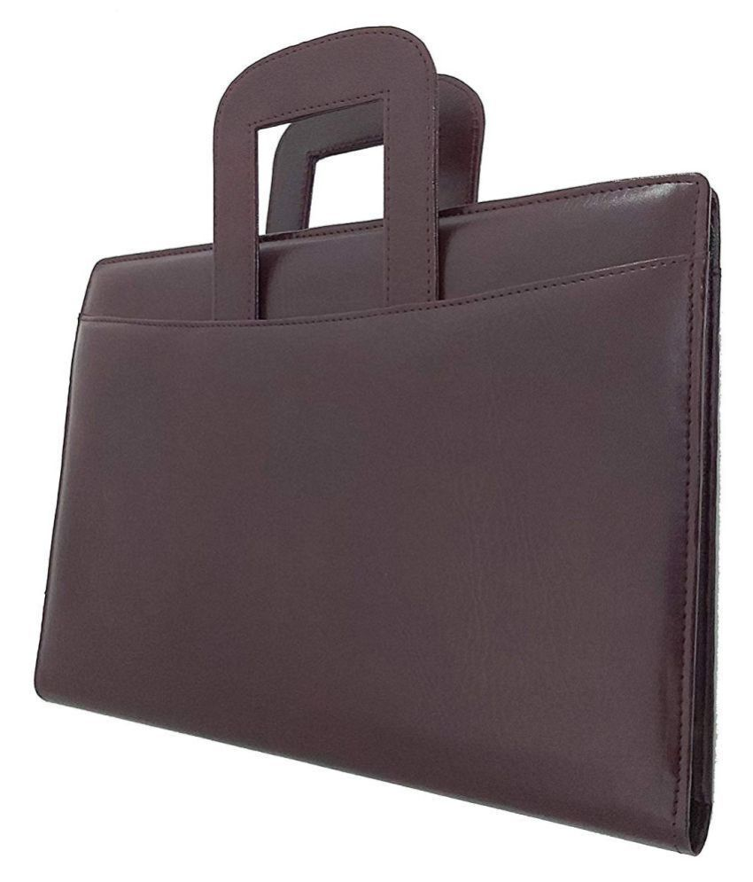 Brown Leather File Folder with Adjustable Handle - Pack of 2