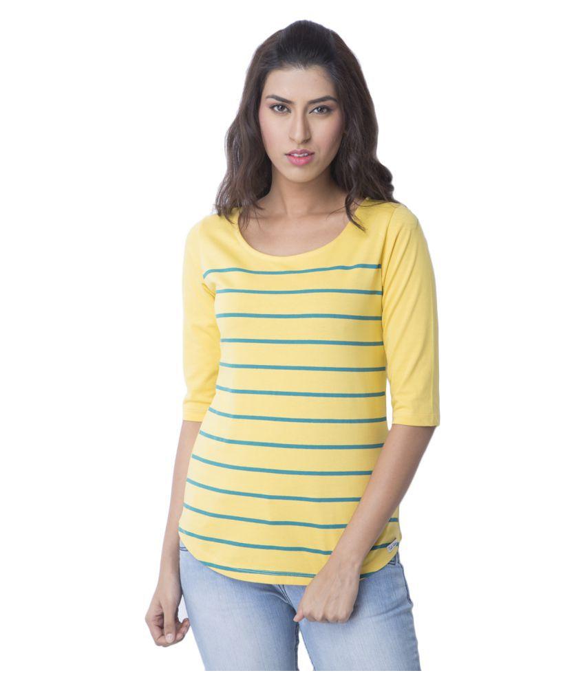 Cult Fiction Cotton Yellow T-Shirts