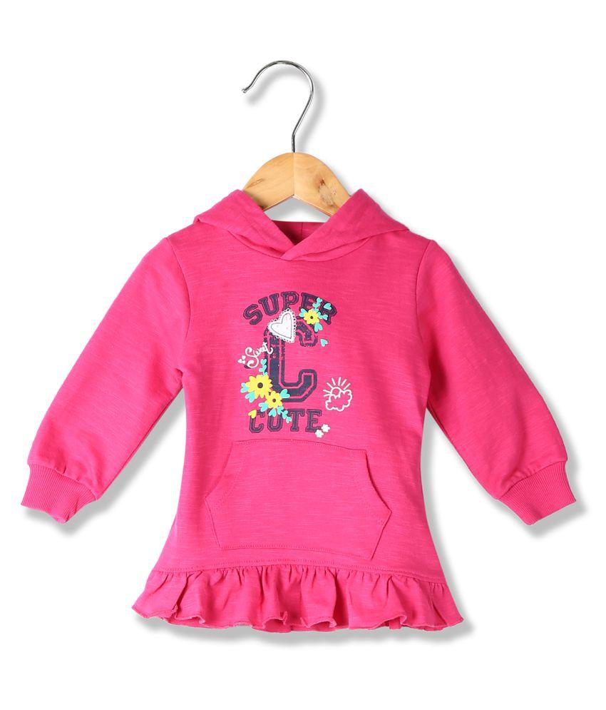 Girls Printed Ruffled Hooded Sweatshirt