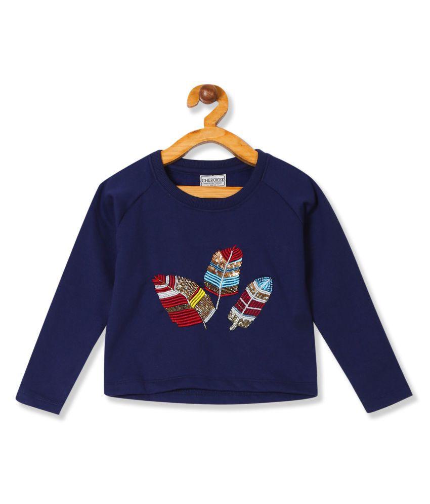 Girls Round Neck Embellished Sweatshirt