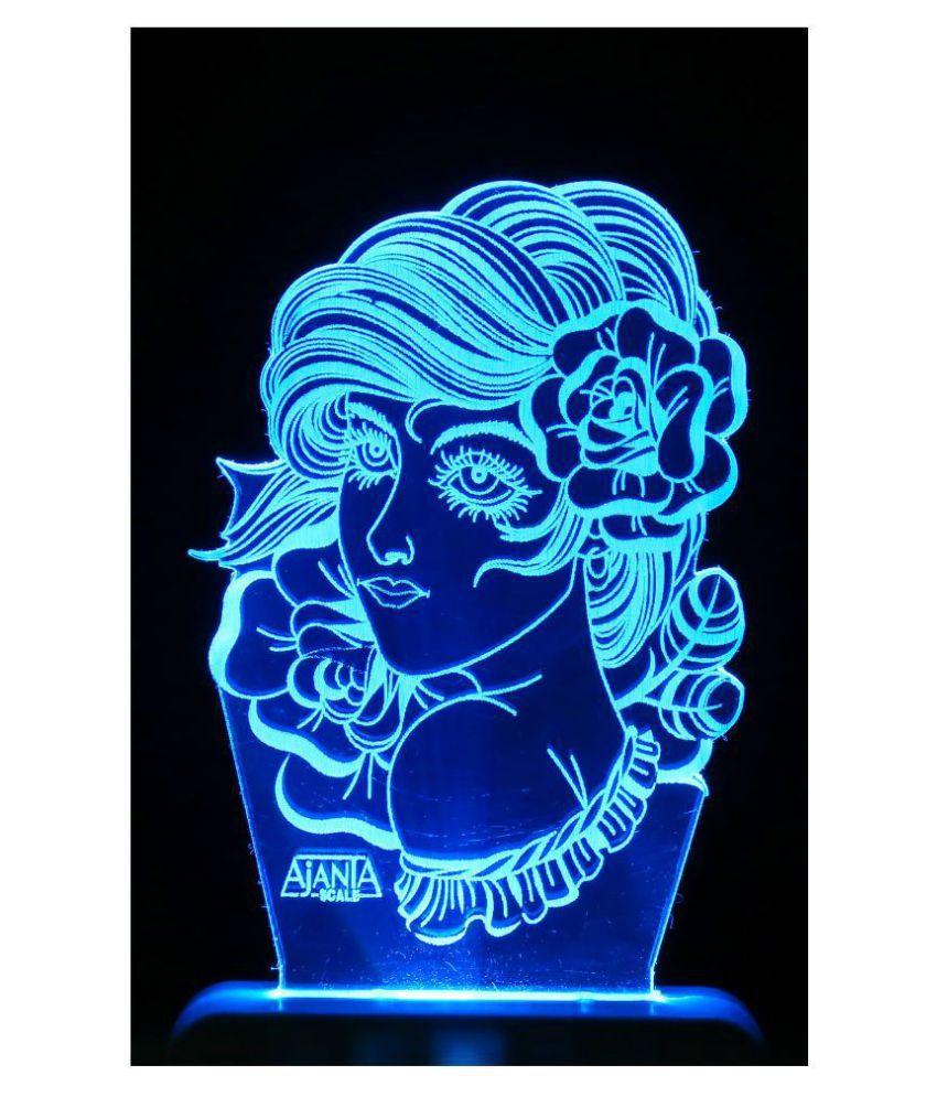 SUPER AJANTA 2032 Queen 3D Night Lamp Multi - Pack of 1