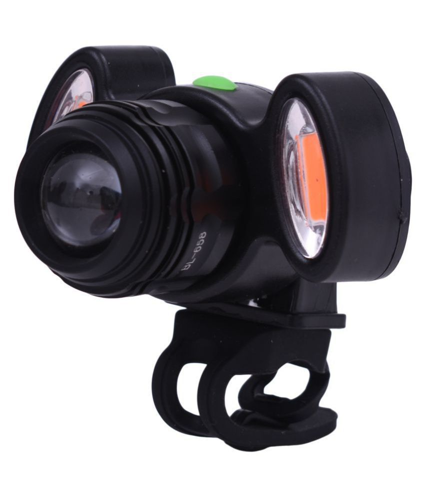 Dark Horse Bicycle Zoom-Able Feature 4 Mode Headlight + Holder Clip Mount Different Modes with 2 Warning Lights, USB Rechargeable (Black)