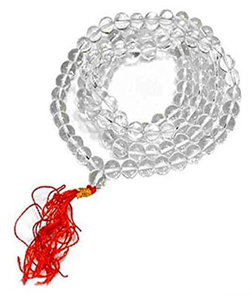 Kanha Ji Sphatik/Crystal Japa Mala 108+1 Beads Natural Rock Best Quality 8mm for pray
