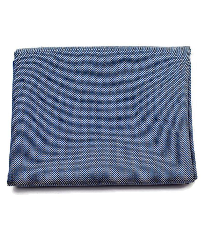 M Maharaja Blue Cotton Blend Unstitched Blazer Piece