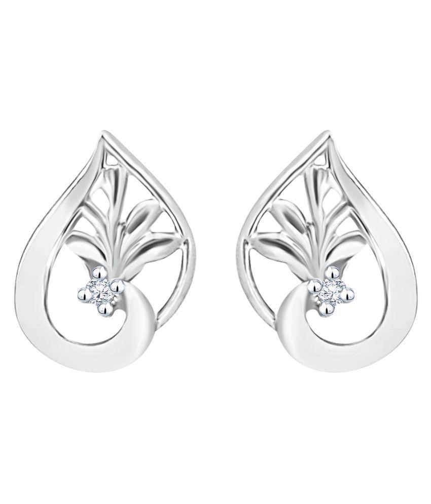 MFJ Fashion Jewellery Superb Brass Rhodium Plated Stud Earring For Women