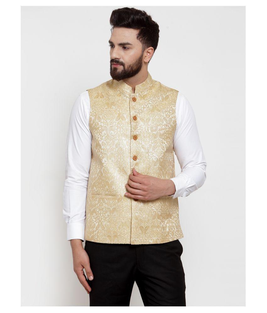 NEUDIS Beige Silk Blend Nehru Jacket Single Pack