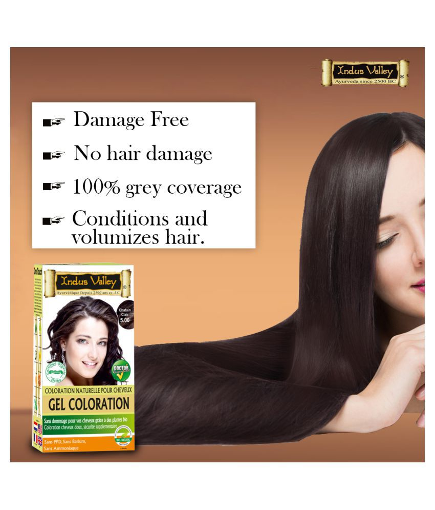 Indus Valley Gel Hair Dye with Refreshing Orange Aroma-One Touch Pack Root Touch Ups Haair Color Light Brown 5.0 50 g