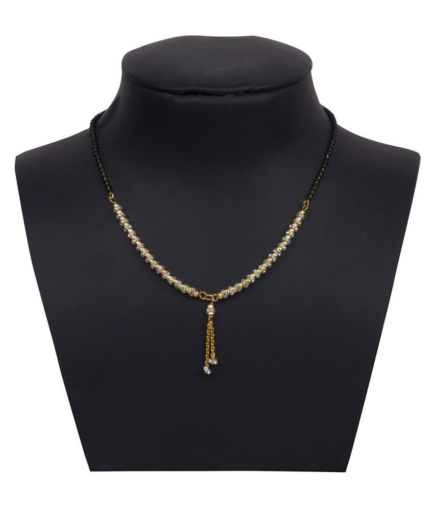 Piah fashion Dazzling Stunning Fancy Gold Plated White Stone Mangalsutra For Women