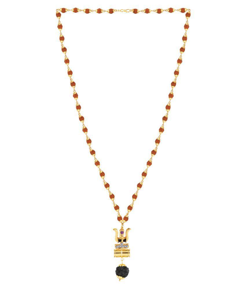 SILVER SHINE Gold Plated Load Shiva Trishul Locket with Rudraksha Mala for Men and Women
