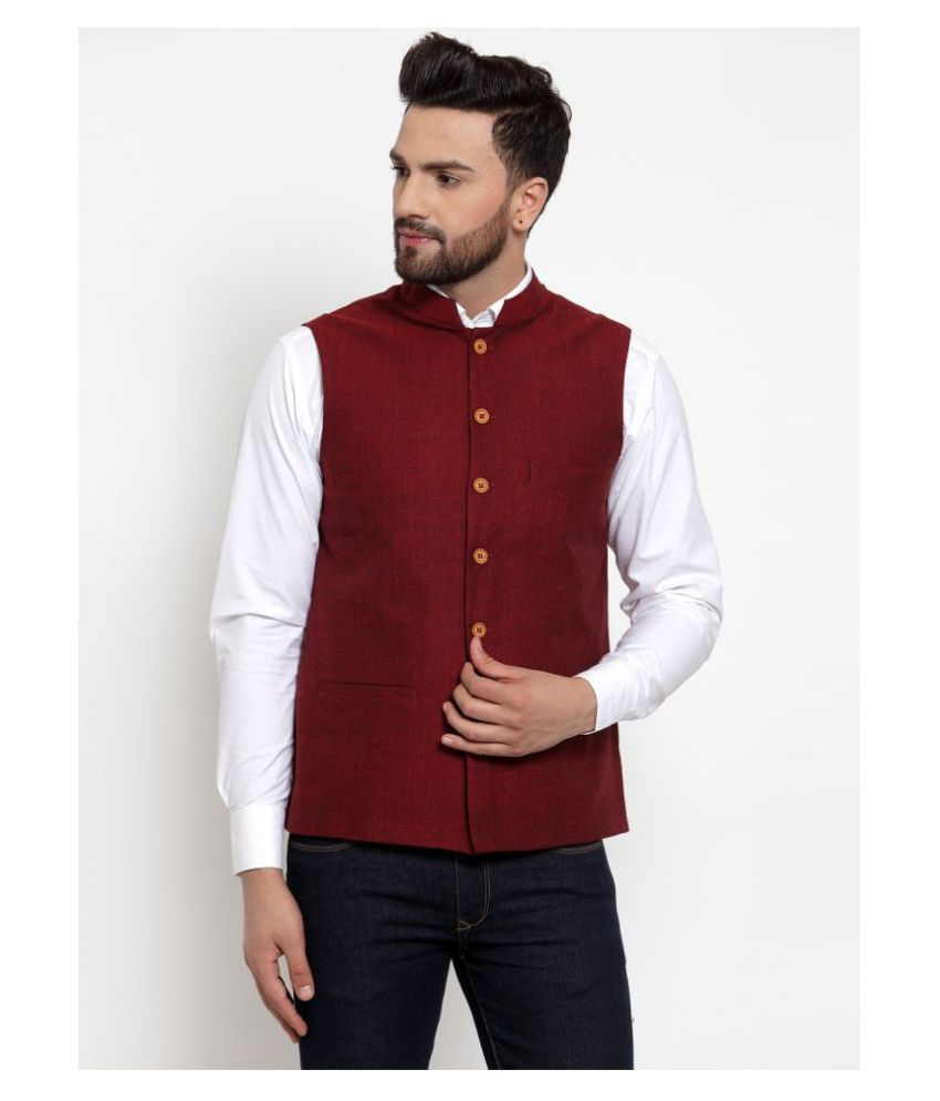 NEUDIS Maroon Cotton Nehru Jacket Single Pack