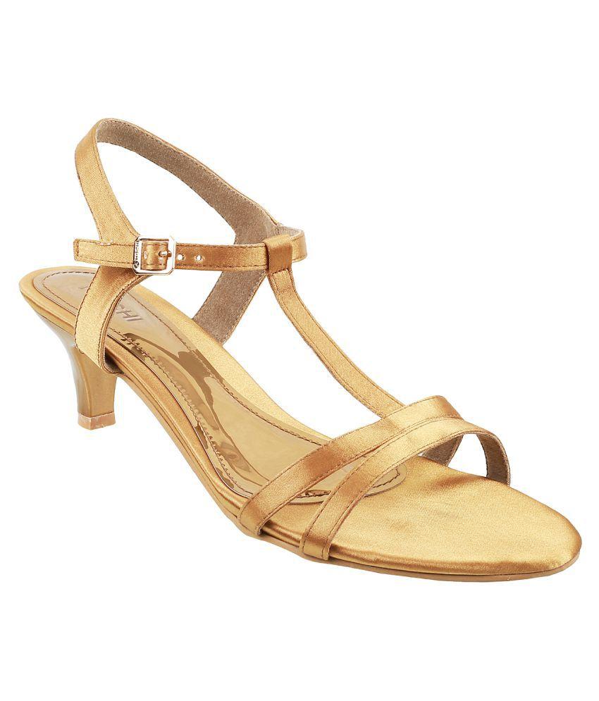 Mochi Gold Kitten Heels