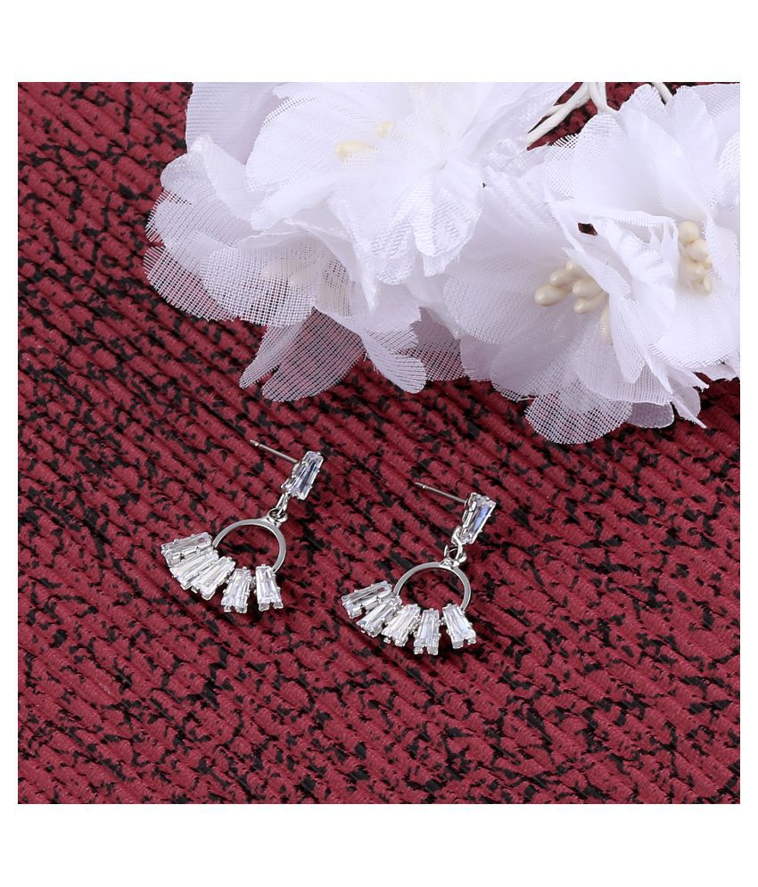 SILVER SHINE Silver Plated Delicated Stylish Stud Earring For Women Girl
