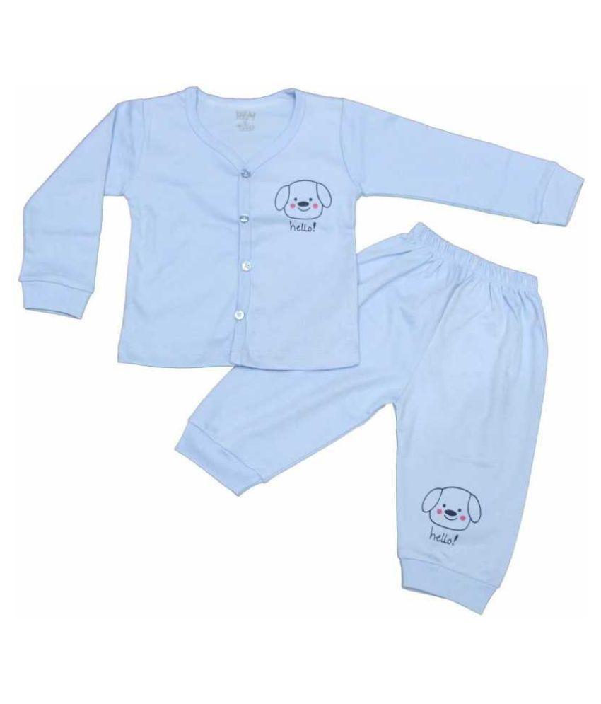 LOVELYLAP 100% Cotton High Quality Blue Color Full Length T-Shirt Pyjama Set