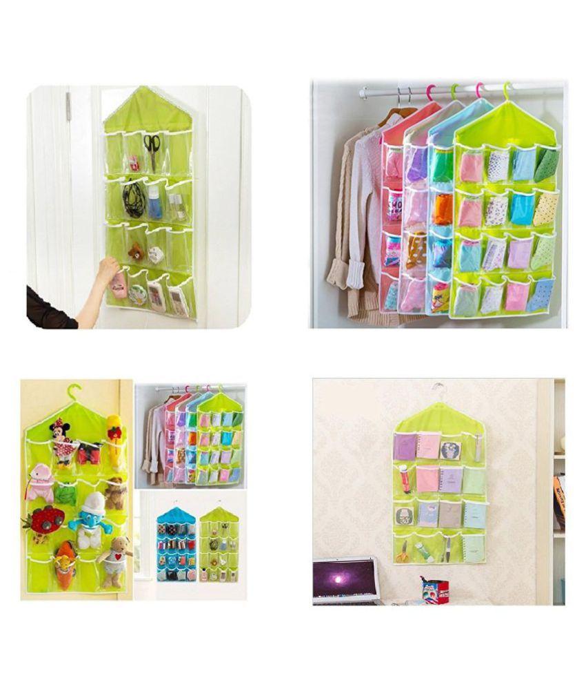Everbuy 16 Pocket Hanging Transparent Foldable Wardrobe Mount Organiser Storage Bag  Multi color