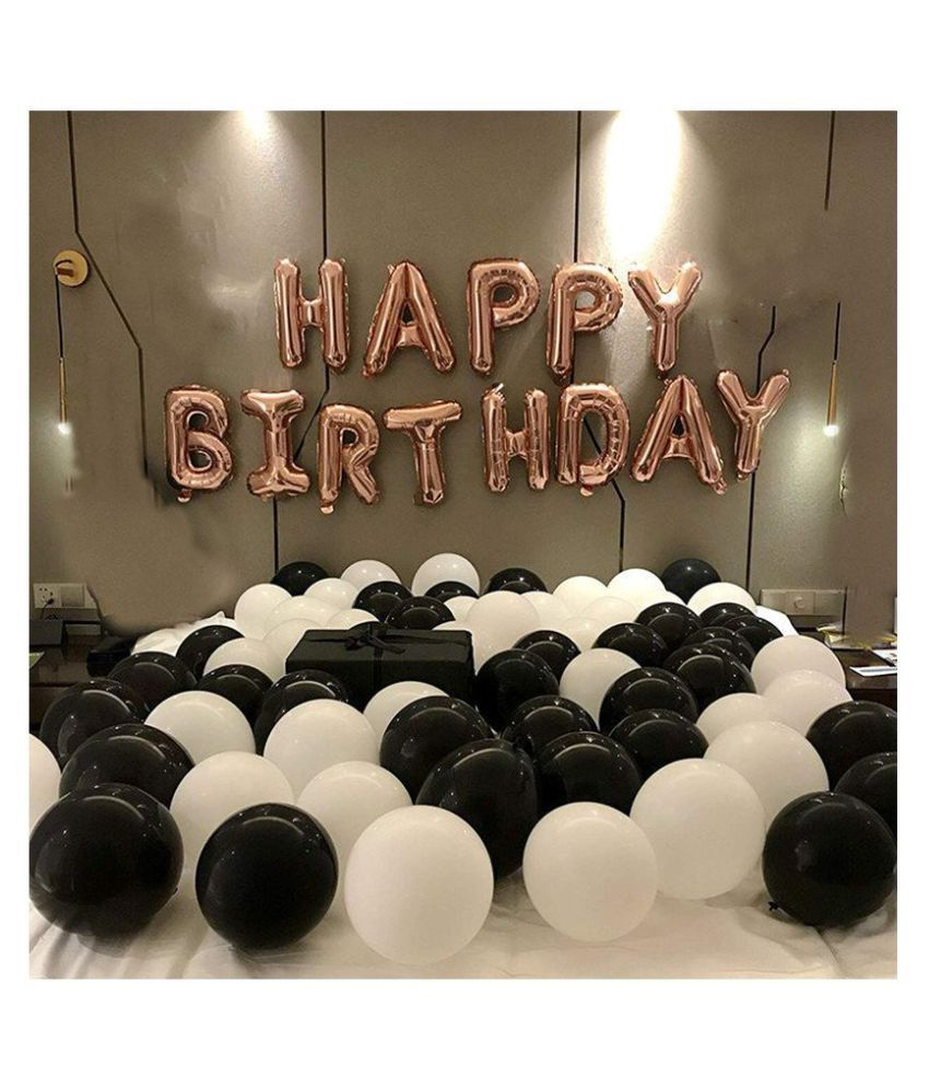 I Q Creations Happy Birthday Letter Foil Balloon Set Of Rose Gold Hd Metallic Balloons Black And White Pack Of 30pcs For Birthday Party Decoration Buy I Q Creations Happy Birthday Letter