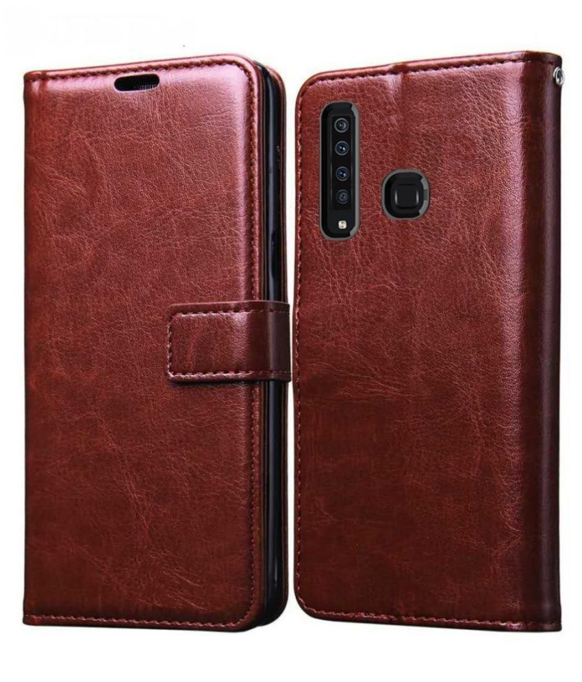Honor 9X Flip Cover by Mobilive - Brown Premium Leather,Inner TPU