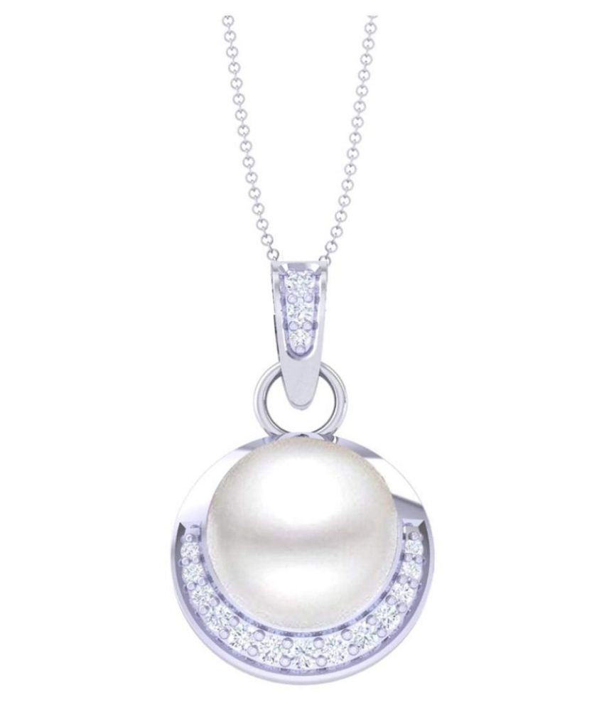 PARUSHI GEMS 3.25 Carat Moti Pendant Natural Pearl Silver Pendant Pearl Necklace Rope Necklace Elegant Necklace Pearl Anklet Pearl Locket June Birthstone Wedding jewelry Silver Plated Pendant