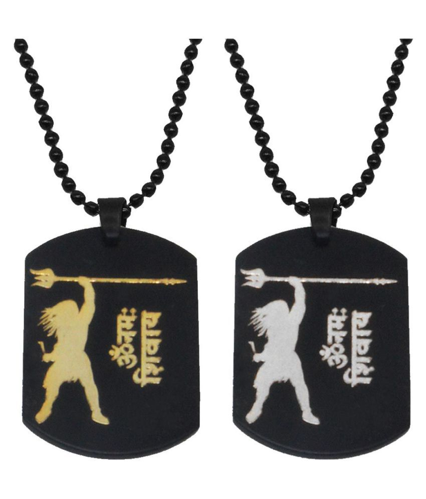 Men Style Religious Jewellery Lord Shiva Combo Black Gold Silver Stainless Steel Necklace Pendant