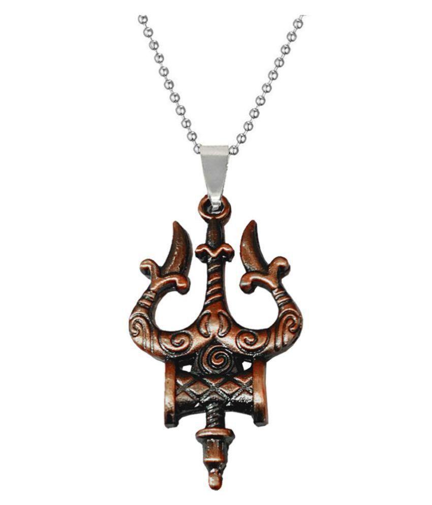 Men Style Religious Jewelry Shiva Trishul Damaru Copper Silver  Metal  Necklace Pendant