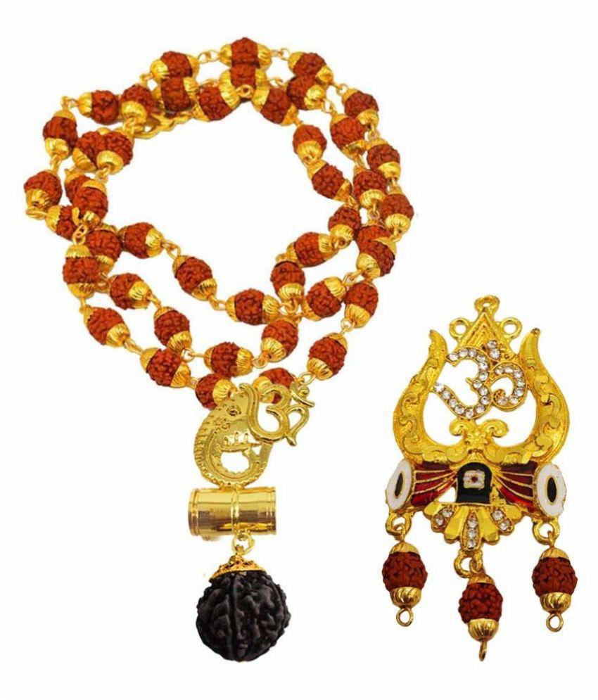 Shiv Jagdamba Religious Jewellery Om Ganesh Trishul Gold Brown Brass Wood Pendant with Rudraksha Mala