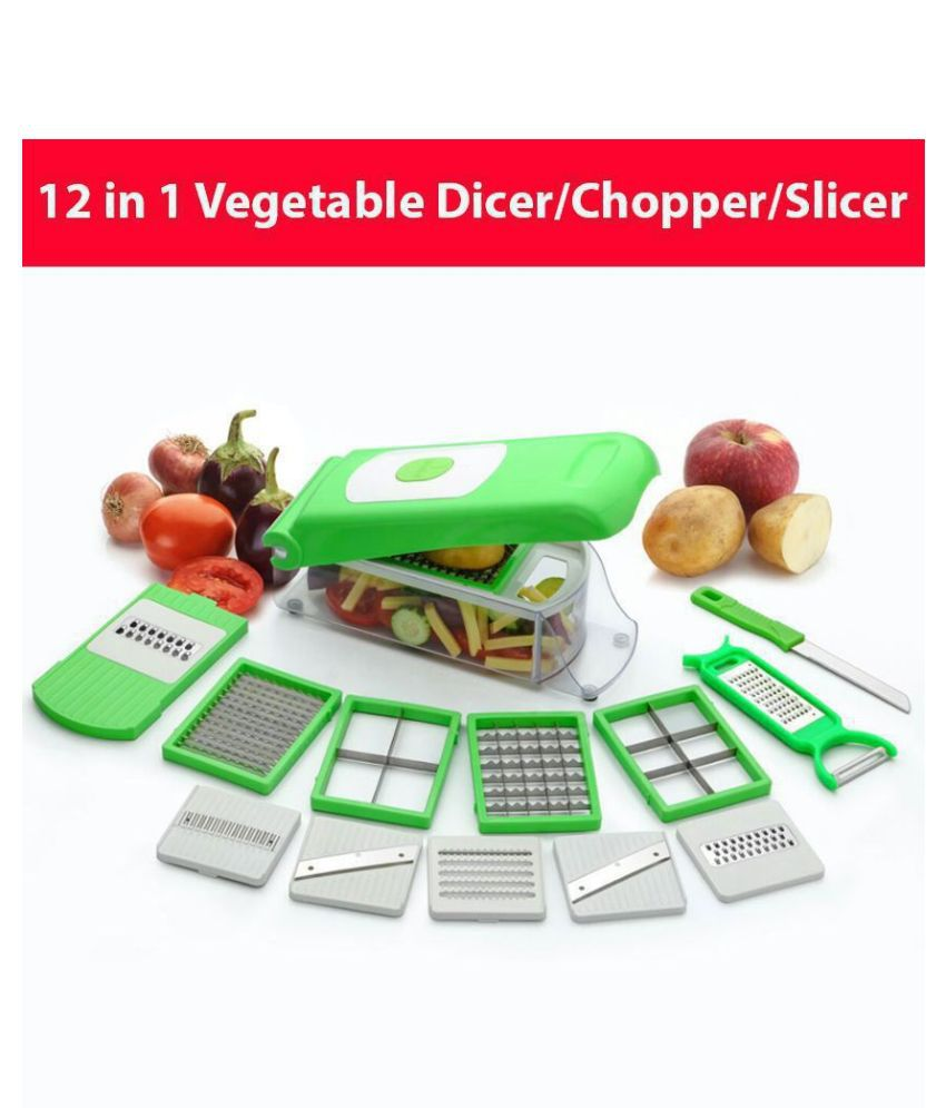 12 in 1 High Quality and Easy To Use Fruit & Vegetable Cutter - Chopper, Dicer ,Grater, Slicer, - All In One / Kitchen Tool / Kitchen Accessories / Utensils /Kitchen Gadgets by - Anvel