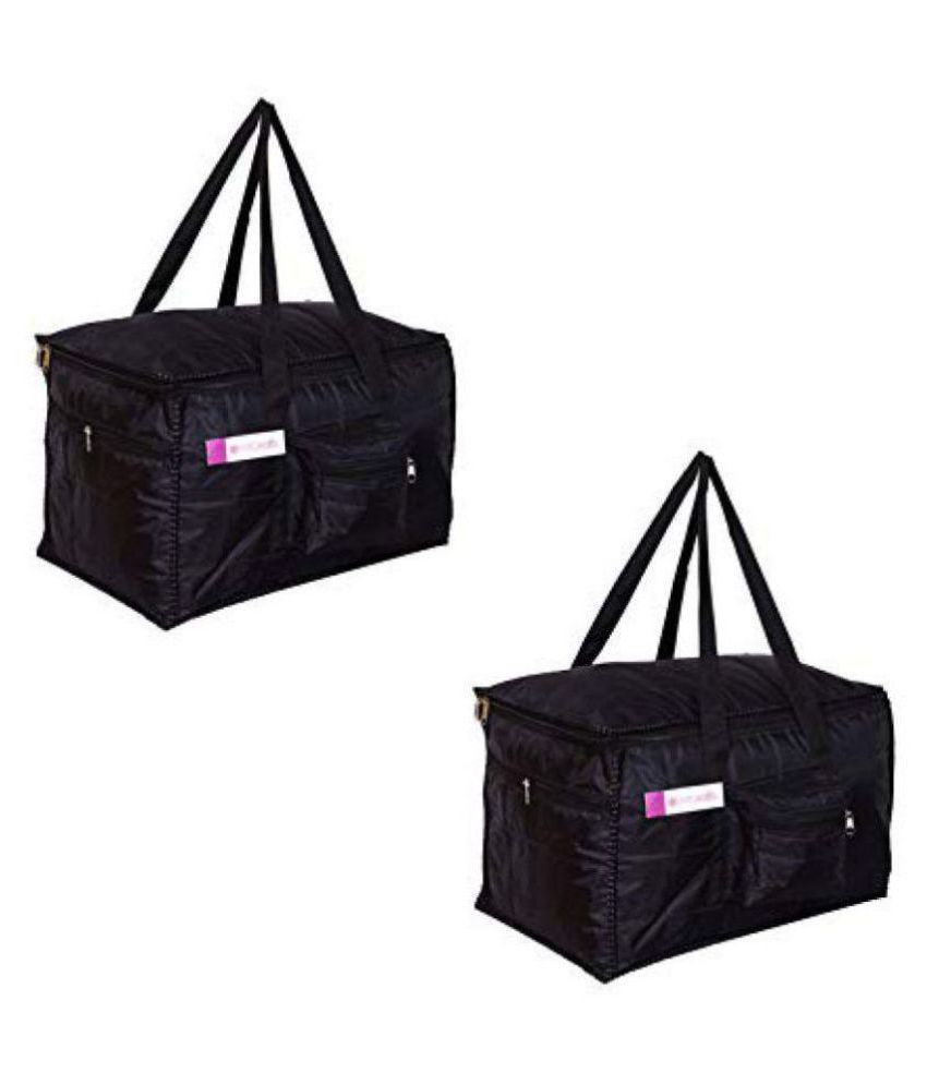 PrettyKrafts Nylon Light Weight, Compact Packing Water Resistant Multiple Pockets Black Duffel Bag - Set of 2