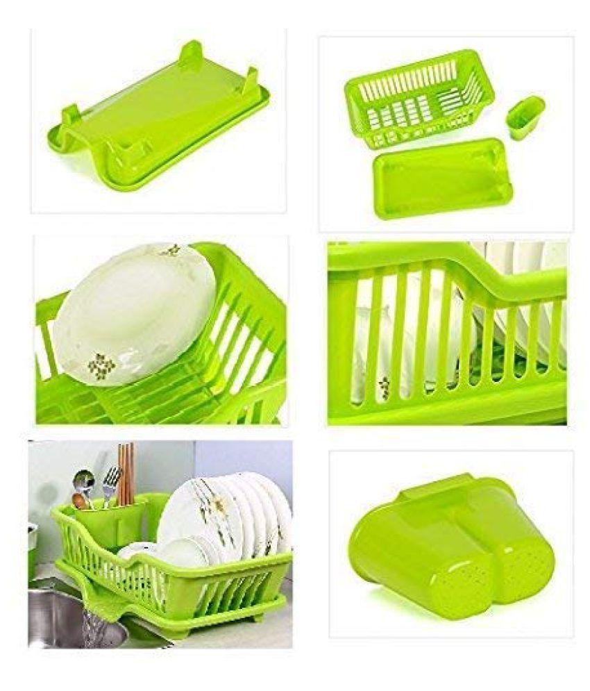HETALU Kitchen Sink Dish Drainer Drying Rack Washing Holder Plastic Basket Organizer with Tray, Large