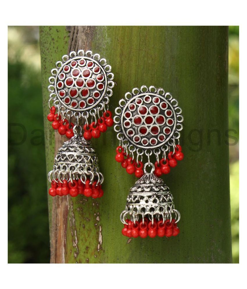 Darshini Designs Oxidized Maroon color Beaded  Jhumki For Women and Girls