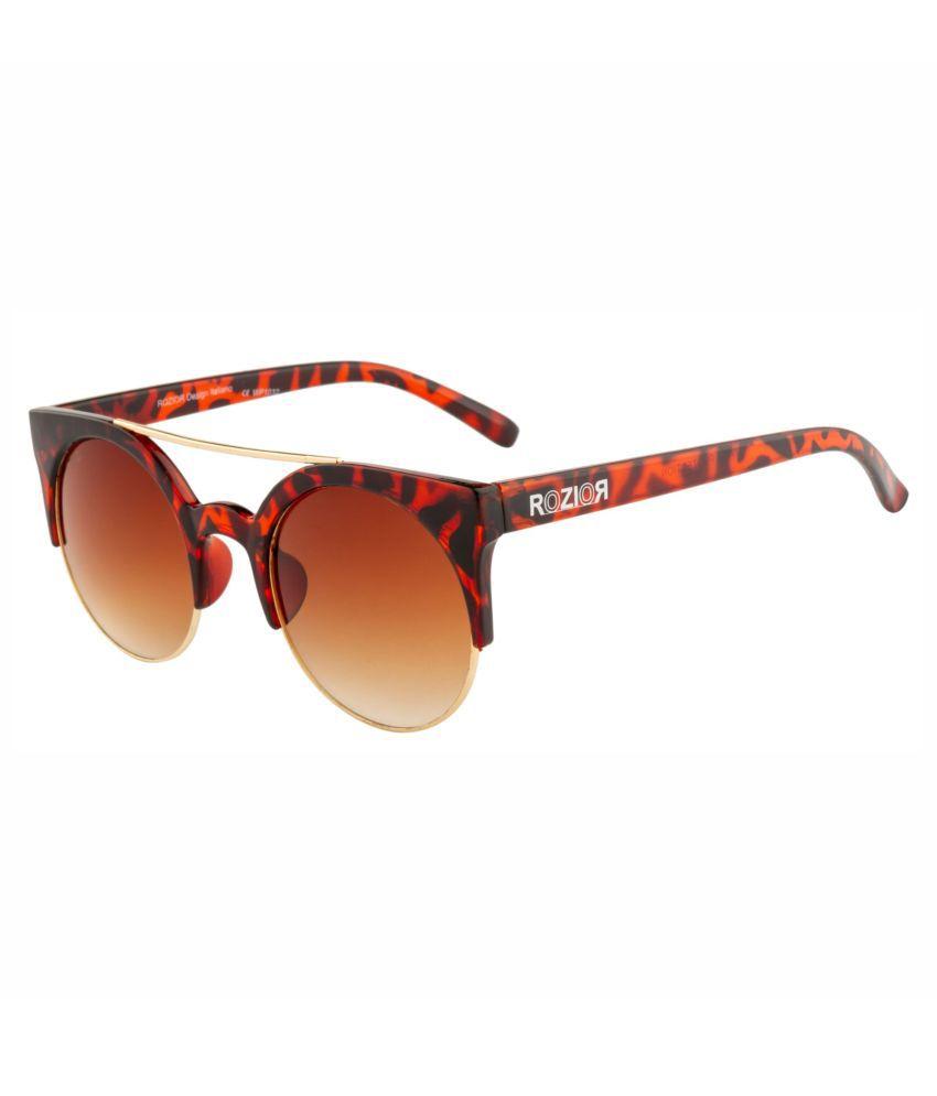 ROZIOR - Brown Round Sunglasses ( Men/Women RWU1032C7 )